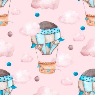 Хлопок Сатин Воздушные шары на розовом 50х40