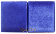 Складень малый простой 6 Казанская-Спаситель (синий бархат)