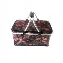 Двухцветная термокорзина для покупок и пикника с цветочным узором, 29 л., коричневый