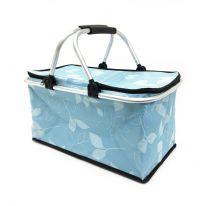 Двухцветная термокорзина для покупок и пикника с цветочным узором, 29 л., светло-синий