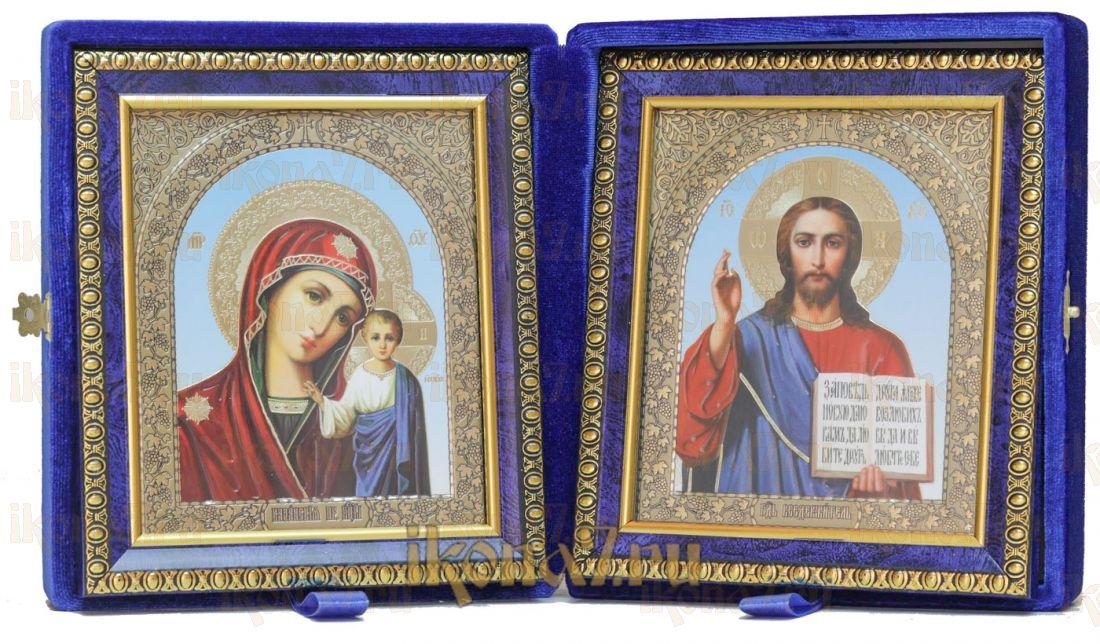 Складень малый 8 Синяя парча Казанская-Спаситель