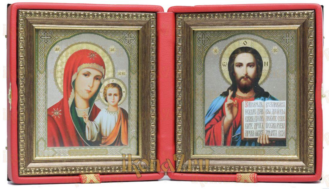 Складень малый 10 Казанская-Спаситель (красная кожа)