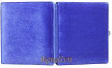 Складень большой 15 Казанская-Спаситель (синий бархат)