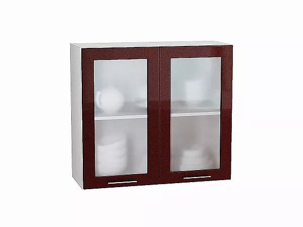 Шкаф верхний Валерия В800 со стеклом (гранатовый металлик)