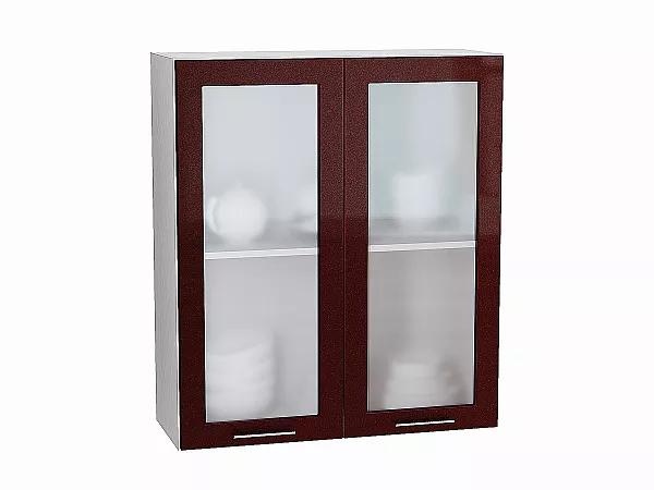Шкаф верхний Валерия В809 со стеклом (гранатовый металлик)