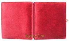 Складень большой 16 Казанская-Спаситель (бордовый бархат)