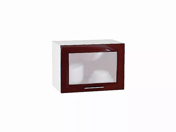 Шкаф верхний Валерия ВГ500 со стеклом (гранатовый металлик)