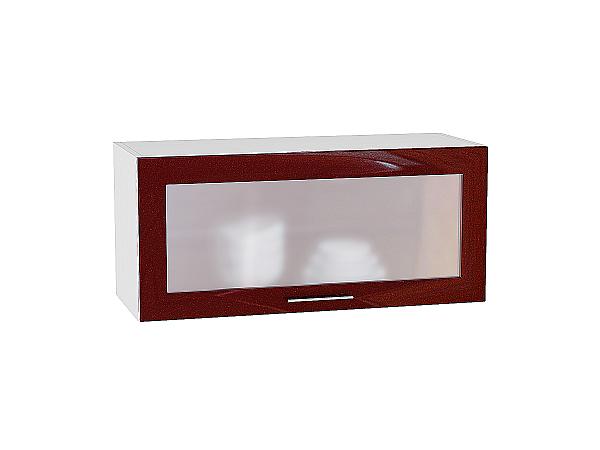 Шкаф верхний Валерия ВГ800 со стеклом (гранатовый металлик)