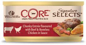 CORE SIGNATURE SELECTS консервы из говядины с курицей в виде кусочков в соусе для кошек 79 г