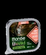 Monge BWild Cat Grain Free Paté terrine Salmone -  из лосося с овощами для взрослых кошек.100г