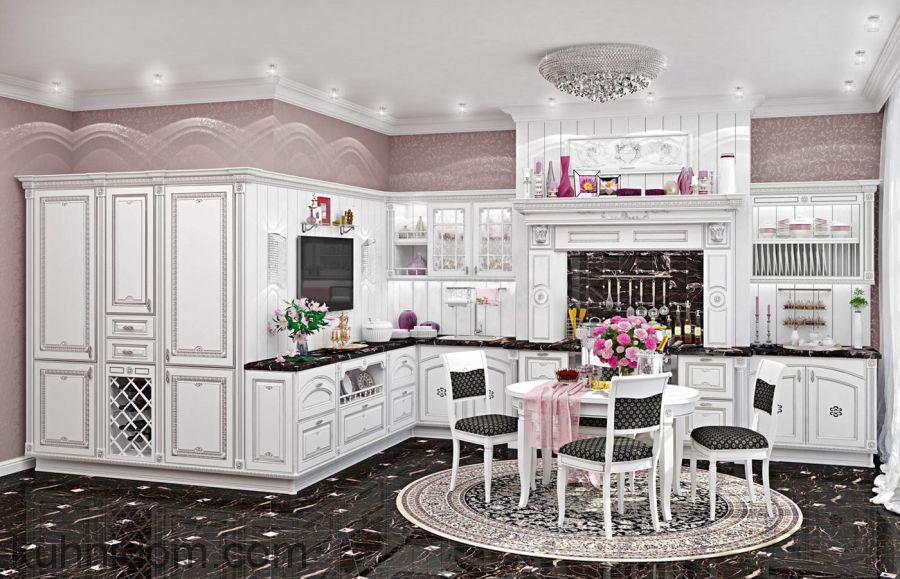 Кухня Афина Аргенто Белая с серебряной патиной