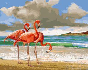 Картина по номерам «Розовые фламинго» 40x50 см