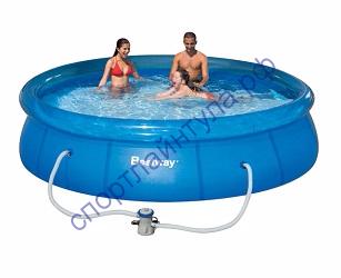 Бассейн с надувным бортом 366х76 см, 5377 л, с фильтр-насос 1249л/ч.