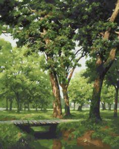 Картина по номерам «Мостик в лесу» 40x50 см