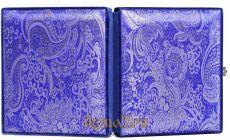 Складень большой 18 Синяя парча Казанская-Спаситель