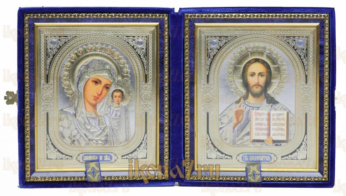 Складень большой 21 Синий Бархат Казанская-Спаситель