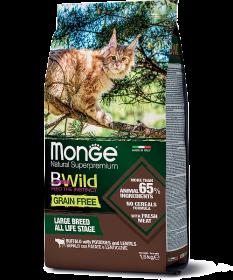 Monge BWild Cat GRAIN FREE  мяса буйвола для крупных кошек всех возрастов 1.5кг