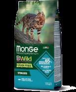 Monge BWild Cat GRAIN FREE TONNO CON PISELLI STERILISED сбалансированный рацион из тунца1.5кг