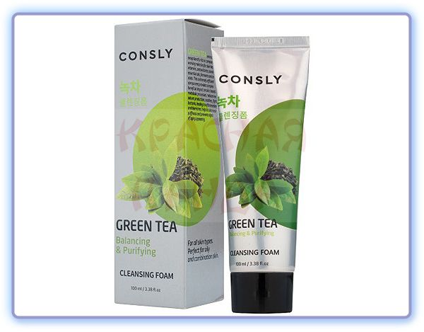 Пенка для умывания c экстрактом зеленого чая Consly Green Tea Balancing Creamy Cleansing Foam
