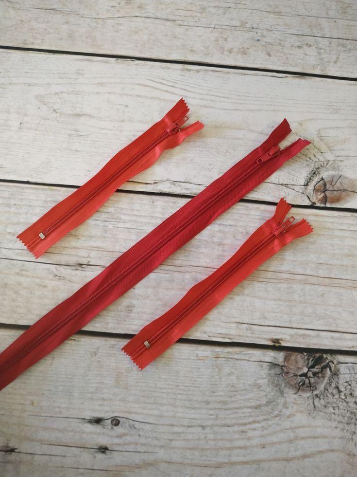 молния спираль короткая 18см красная