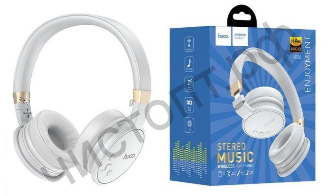 Bluetooth гарнитура стерео HOCO W26 5.0 с микрофоном microSD серый
