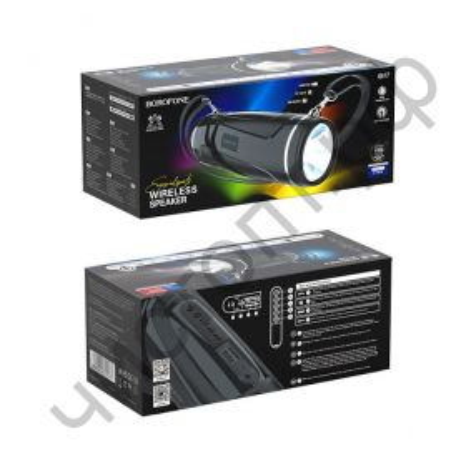 Колонка универс.с радио Borofone BR7 5.0 фонарик microSD с микрофоном черный
