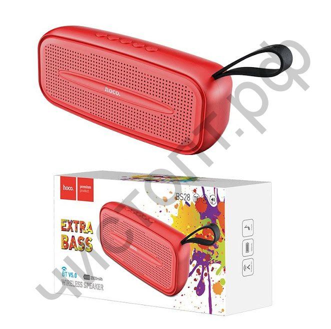 Колонка универс.с радио HOCO BS28  5.0 microSD с микрофоном красный