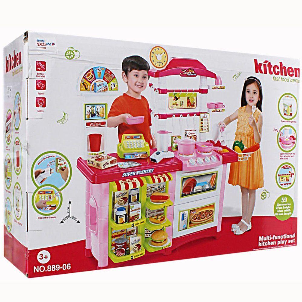 Детская кухня с магазином 2 в 1 59 аксессуаров Kitchen Fast food center (889-06)