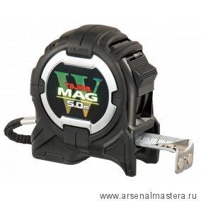 Рулетка TAJIMA с магнитным корпусом и зацепом W-MAG 5 м / 25 мм цвет черный обрезиненный корпус WM550MRD215K