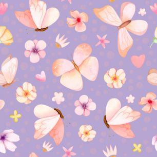 Хлопок Сатин Милые бабочки на сиреневом 50х40