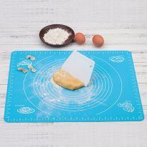Силиконовый коврик для раскатывания теста, 50х40 см., голубой