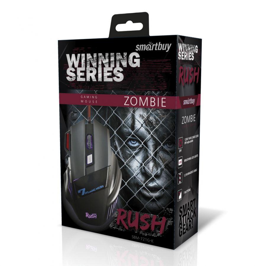 Мышь игровая проводная Smartbuy RUSH Zombie черная (SBM-721G-K)