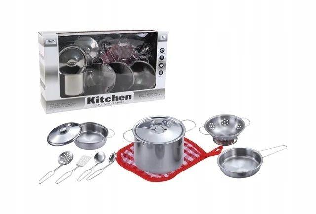 555-BX005 Детская металлическая посуда с прихваткой 11 предметов