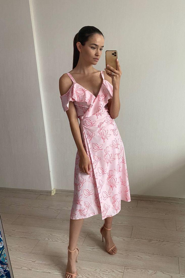 s1864 Сарафан розовый из вискозы с цветами