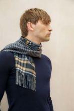 Роскошный двусторонний кашемировый шарф (100% драгоценный кашемир), Знаменитый Ганчек CHECK & BLUE GUNCLUB ,   высокая плотность 7