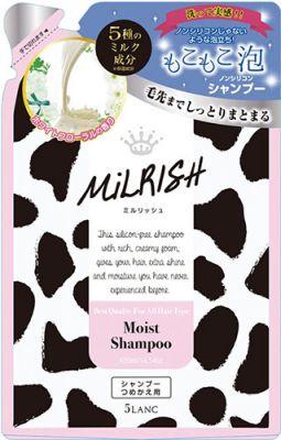 Sun Smile MILRISH Нежное увлажнение Увлажняющий бессиликоновый  шампунь для всех типов волос с пятью молочными компонентами, растительными экстрактами  и цветочным ароматом, 430 мл. (мягкая упаковка), 1/24