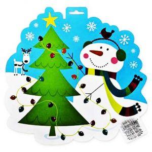 Баннер двусторонний Снеговик и елка (27см)
