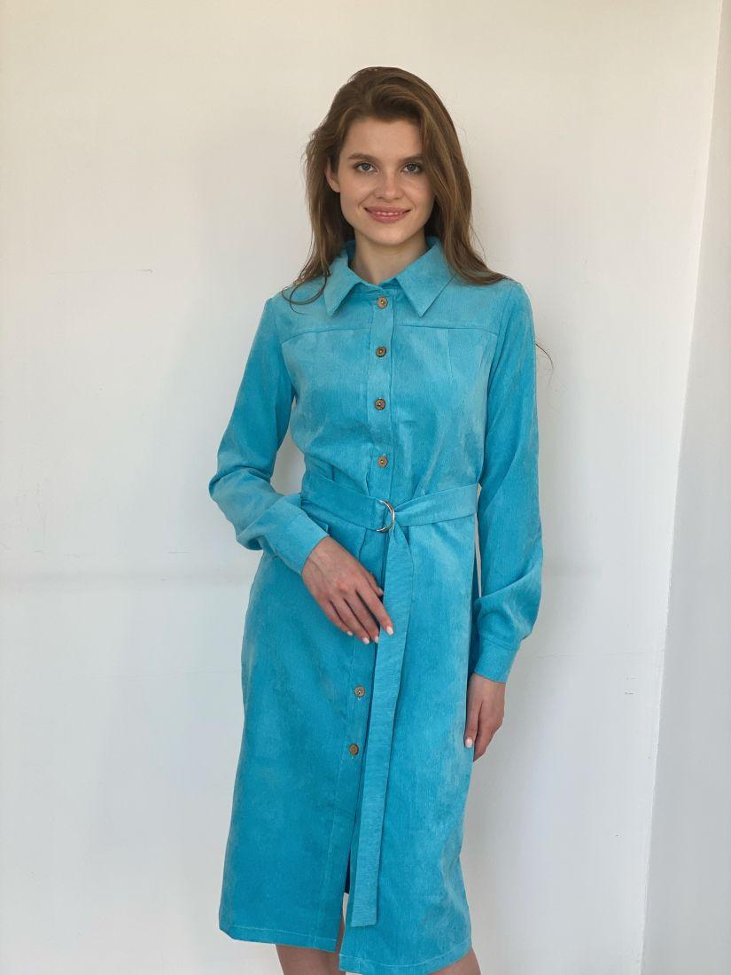 s1888 Платье из вельвета бирюзовое