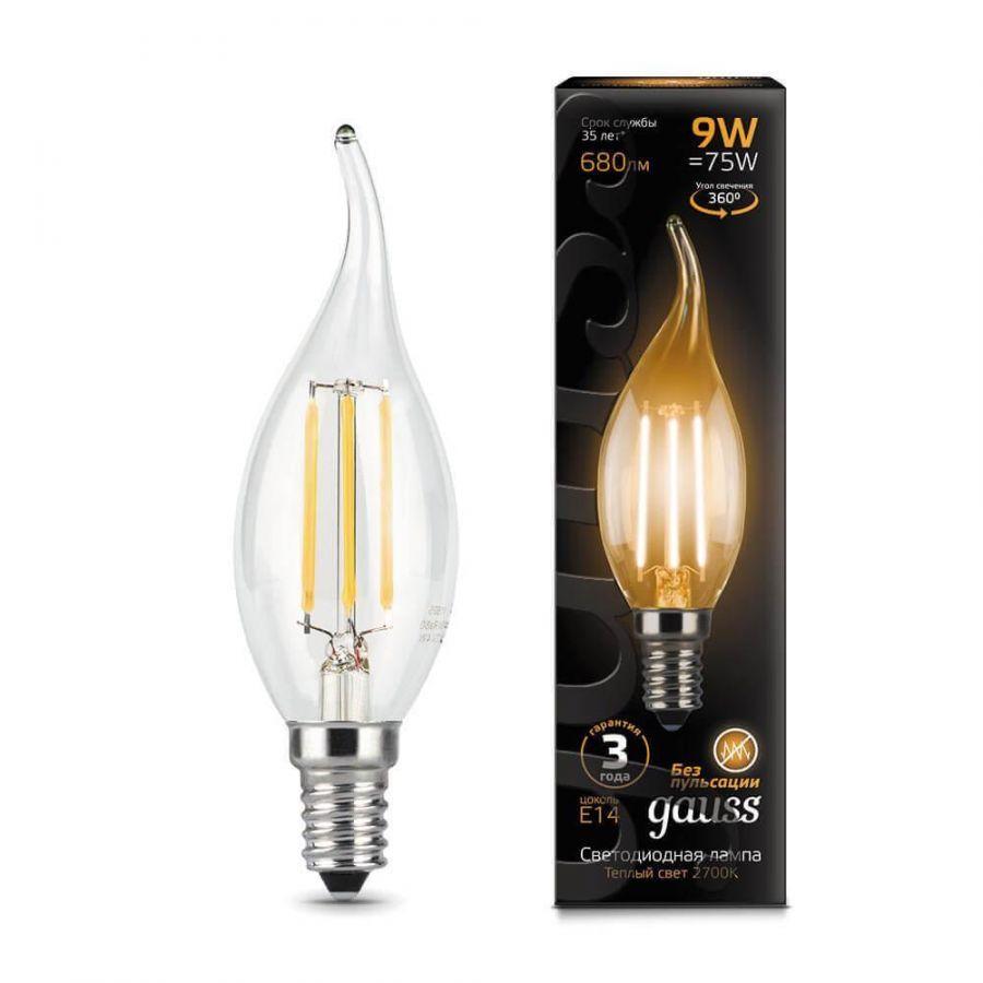 Лампа светодиодная филаментная Gauss E14 9W 2700К прозрачная 104801109