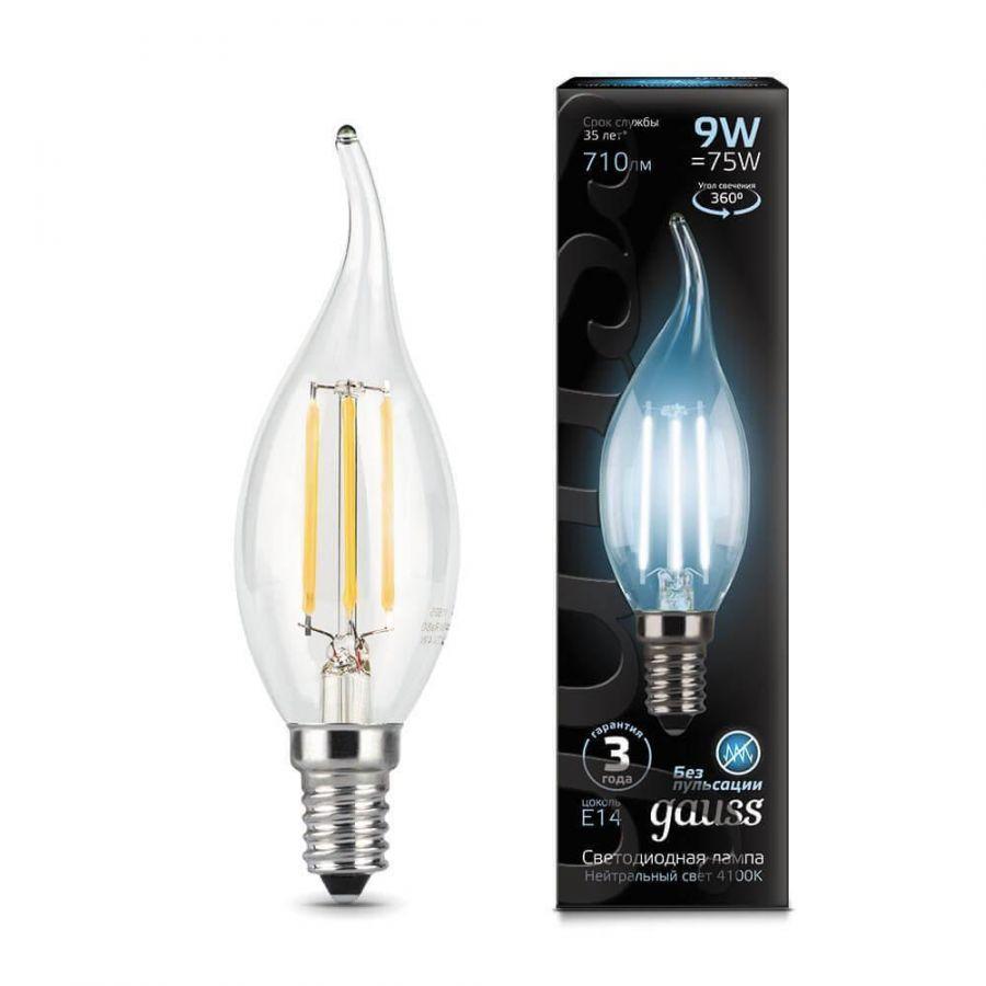 Лампа светодиодная филаментная Gauss E14 9W 4100К прозрачная 104801209
