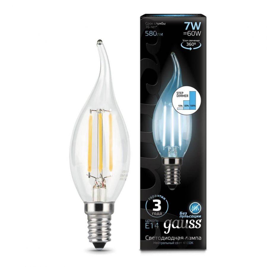 Лампа светодиодная филаментная диммируемая Gauss E14 7W 4100K прозрачная 104801207-S