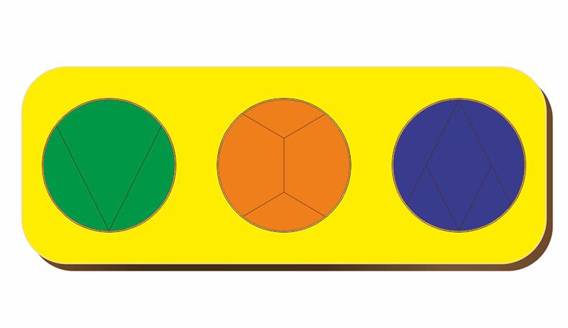 Рамка-вкладыш WOODLANDTOYS 061105 Дроби 3 круга, уровень 3