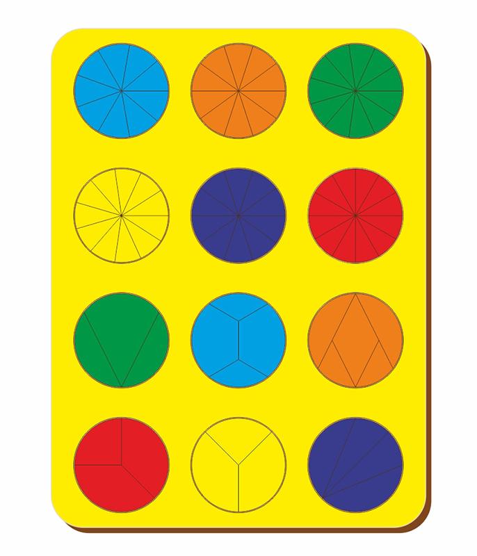 Рамка-вкладыш WOODLANDTOYS 061302 Дроби 12 кругов