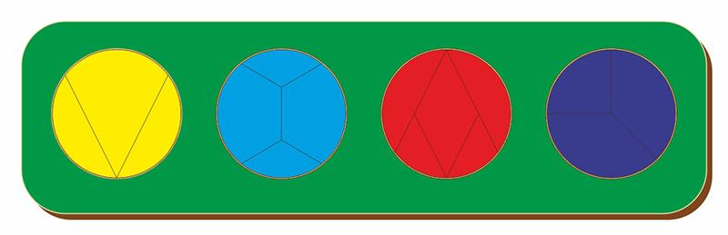 Рамка-вкладыш WOODLAND 061404 Дроби 4 круга, уровень 4
