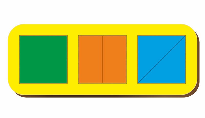 Рамка-вкладыш WOODLANDTOYS 064101 Сложи квадрат 3 квадрата, уровень 1