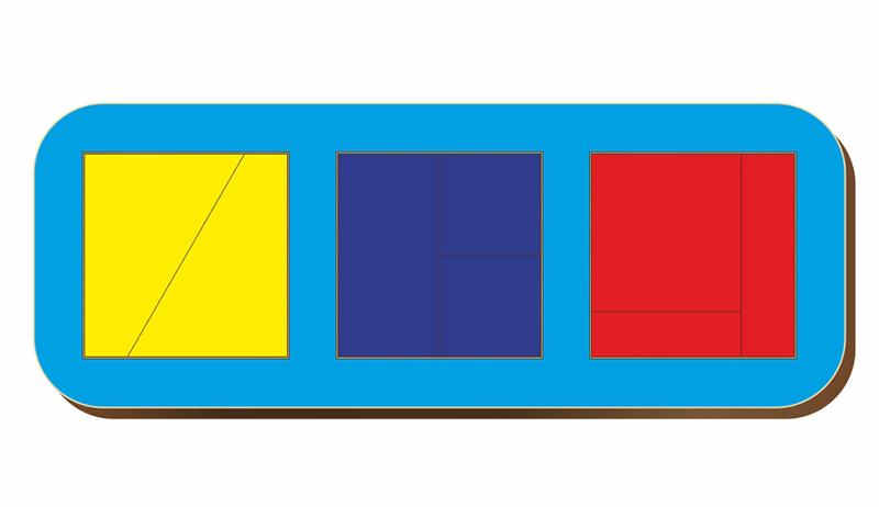 Рамка-вкладыш WOODLAND 064102 Сложи квадрат 3 квадрата, уровень 1