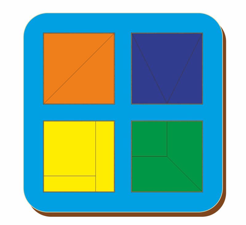 Рамка-вкладыш WOODLAND 064202 Сложи квадрат 4 квадрата, уровень 1