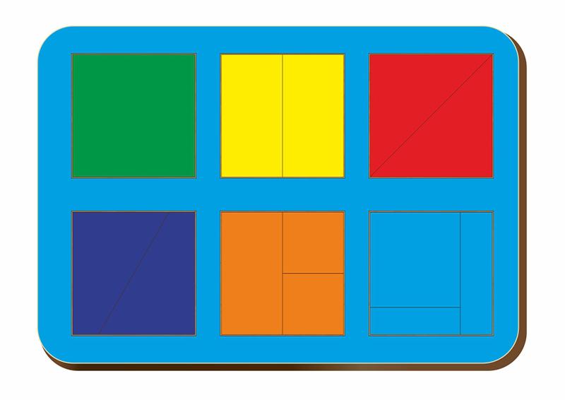 Рамка-вкладыш WOODLANDTOYS 064301 Сложи квадрат 6 квадратов, уровень 1