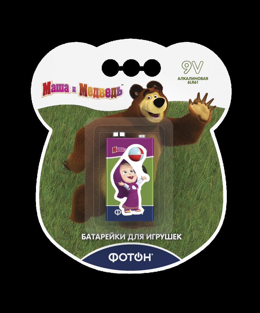 Элементы питания ФОТОН 22857 6LR61 ВP1 , Маша и медведь  + наклейка