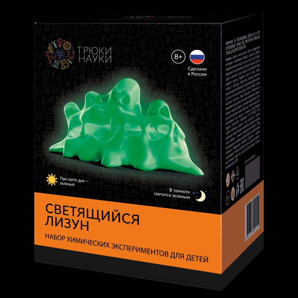 Набор для опытов ТРЮКИ НАУКИ Z104 Светящийся лизун(зеленый/зеленый)